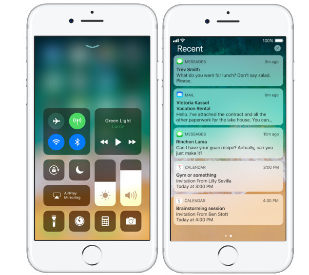 Apple iOS 11 Unified Control Center and Lock screen