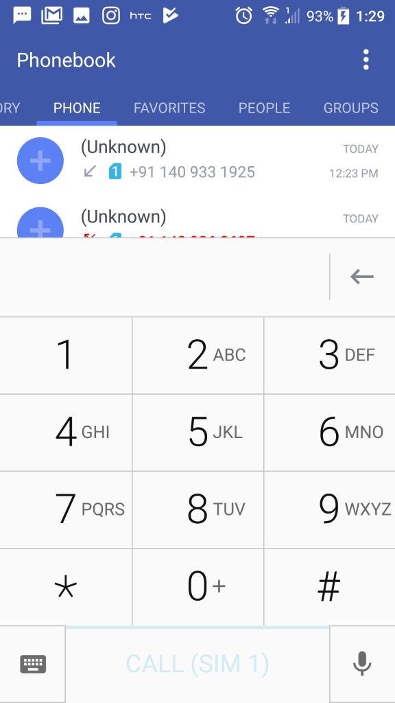 HTC-U11-Dialler