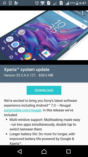 Sony Xperia XA 33.3.A.0.127 Android 7.0 Nougat update