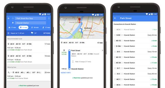 Google Maps Kolkata real-time transit