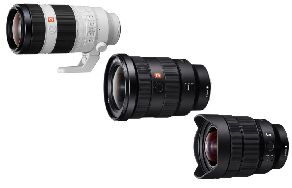Sony SEL100400GM, SEL1635GM and SEL1224G lens