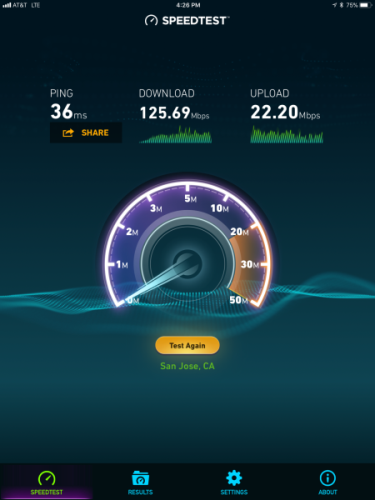 iPad Pro LTE Speed Test