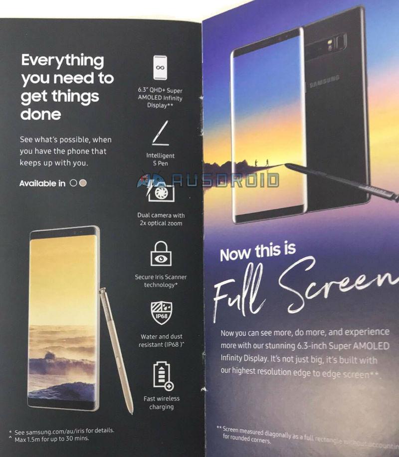 Samsung Galaxy Note8 brochure leak