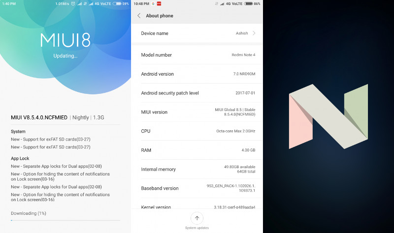 Xiaomi Finally Rolls Out Nougat Update To The Redmi Note 4: Xiaomi Redmi Note 4 MIUI 8.5.4.0 Android 7.0 Nougat Update