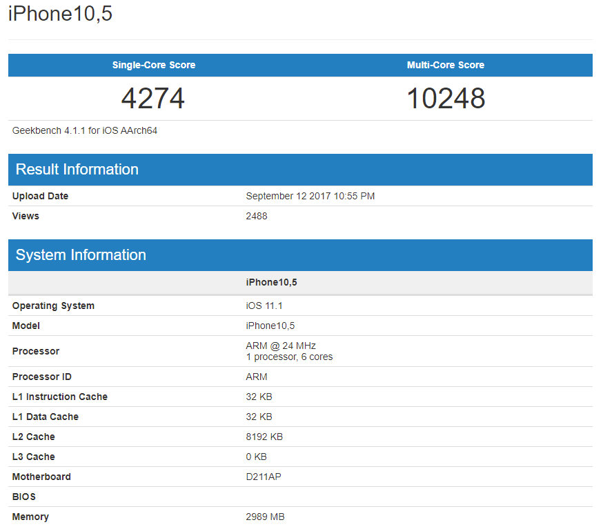 Apple iPhone 8 Plus Geekbench