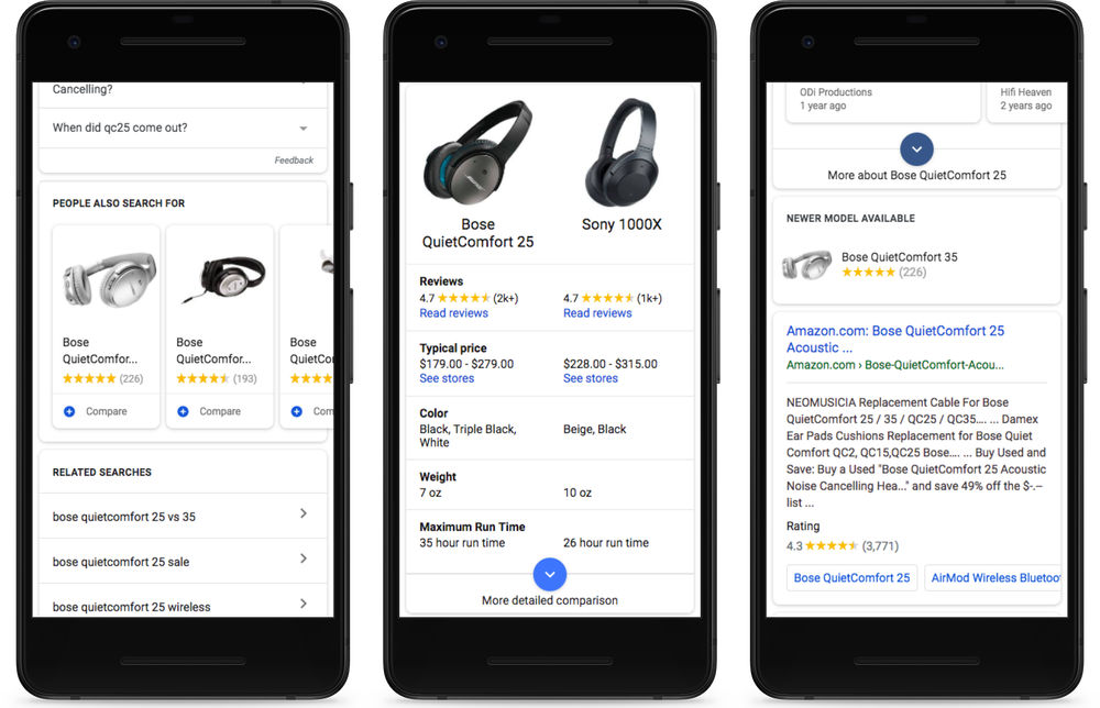 Google Search for mobile gets detailed product cards ...