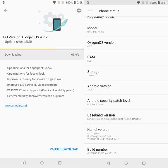 OnePlus 5T OxygenOS 4.7.2