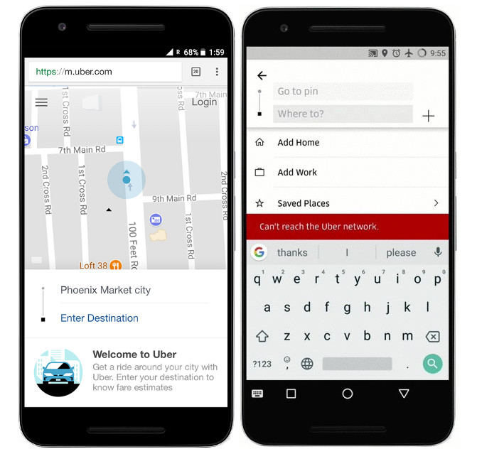 Uber Web app and offline search