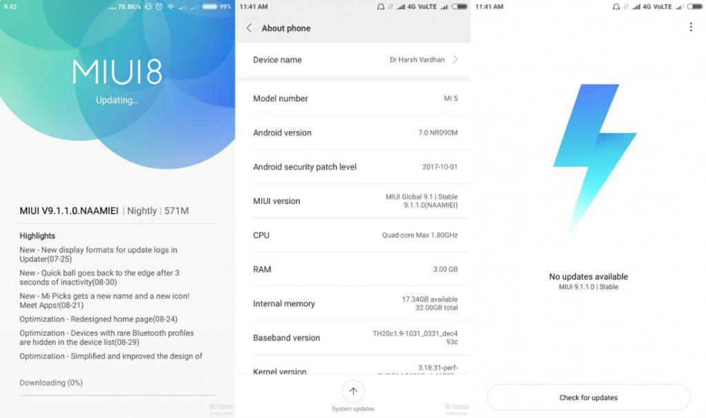 Xiaomi Mi 5 MIUI 9