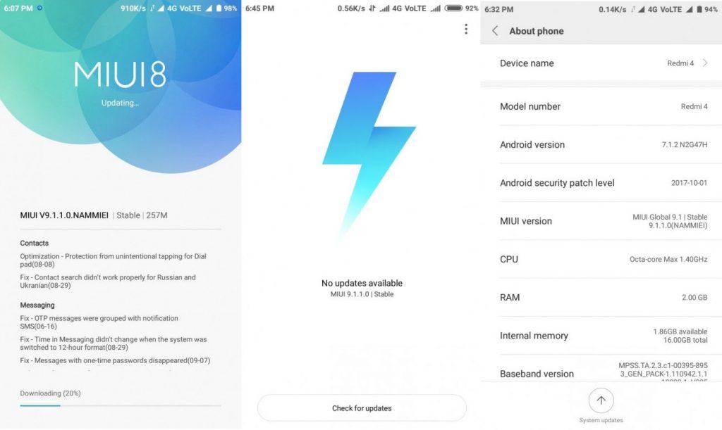 Xiaomi Redmi 4 MIUI 9 Stable Update