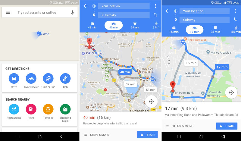 Google Maps gets Two-wheeler mode in India, shows directions ... on google calendar android, google chrome android, google maps mobile, google earth android, quickoffice android, google voice search android, youtube android, google play android, google quick search box android,