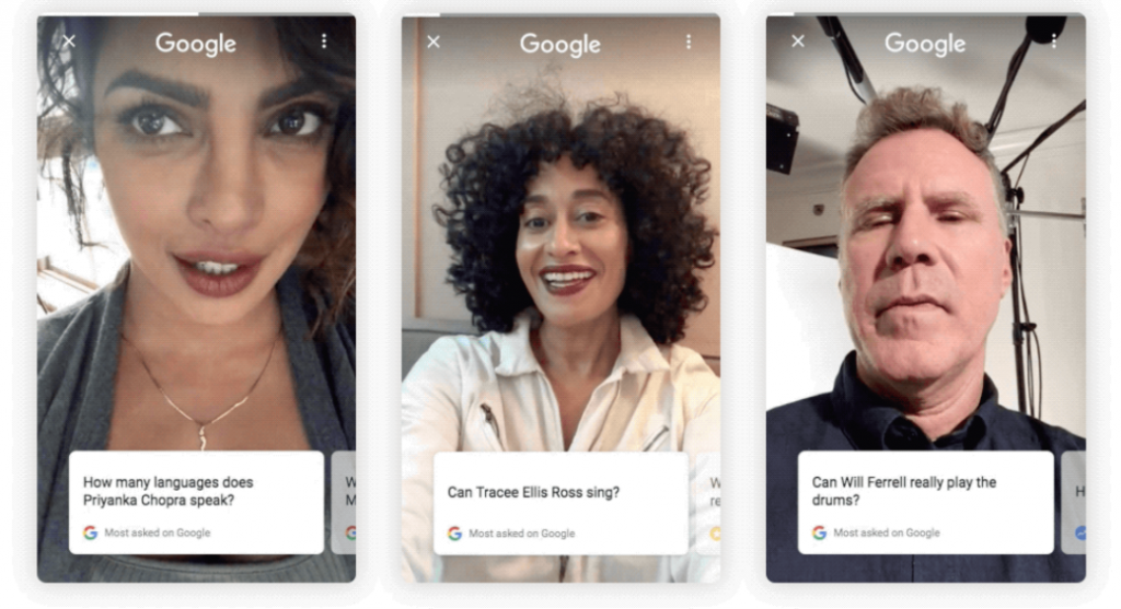 Google search to answer celebrity questions with selfie-style videos