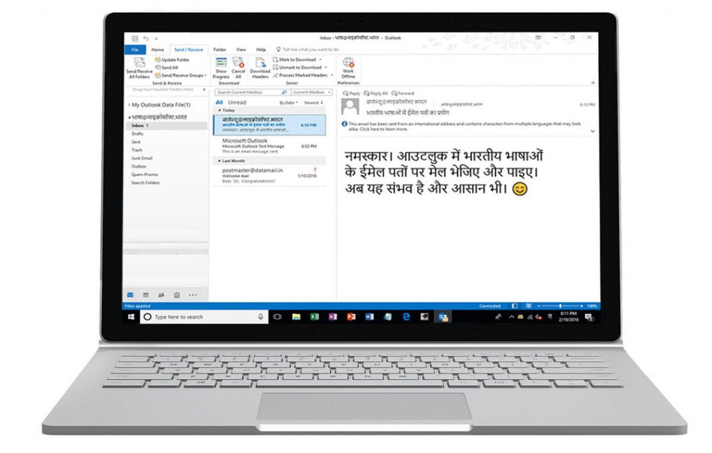 Microsoft e-mail address in Indian languages