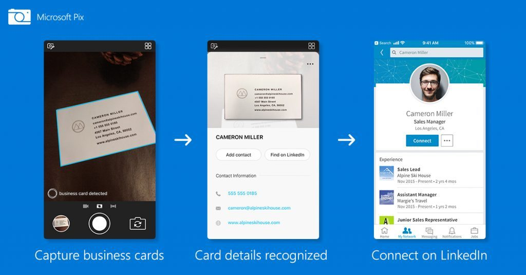 Microsoft Pix app gets business card feature with LinkedIn integration