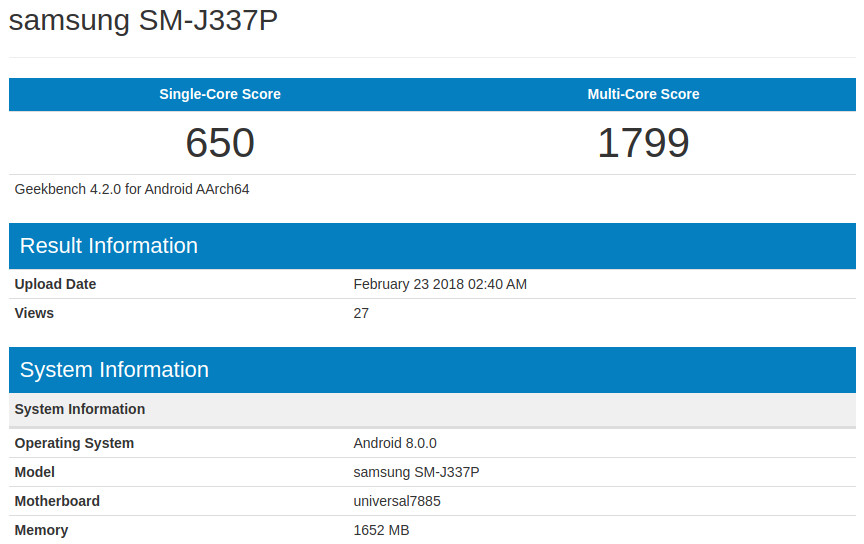Samsung Galaxy J3 (2018) and Galaxy J6 with Android 8.0 Oreo Shows up in Benchmarks