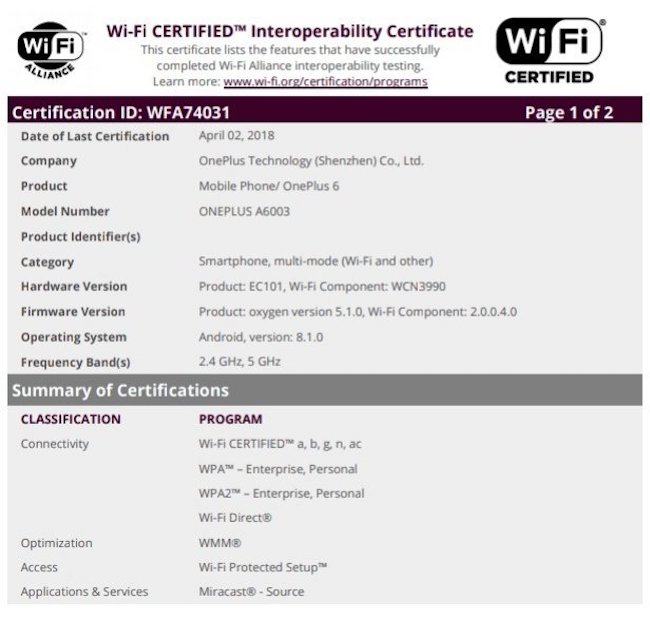 OnePlus 6 WiFi Certification