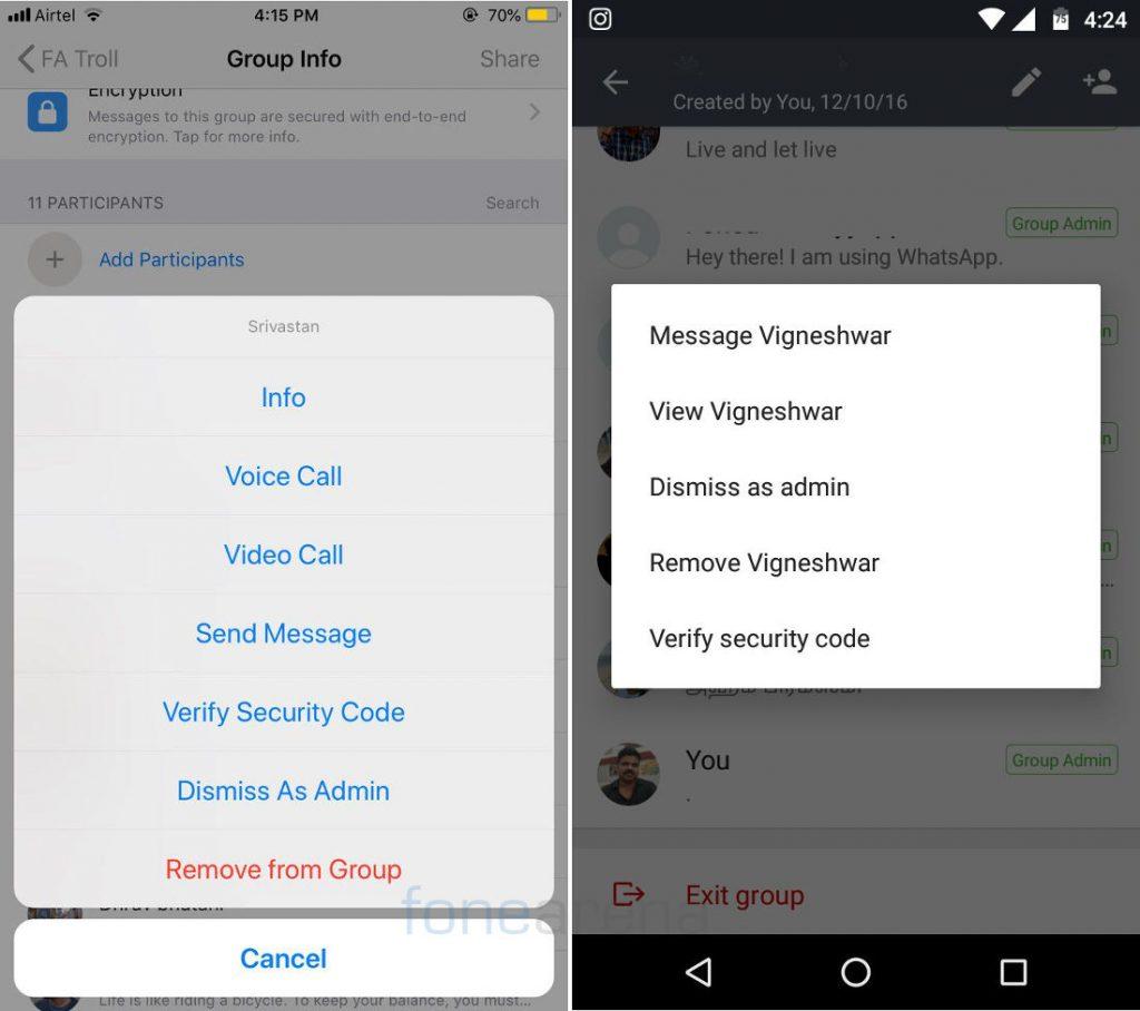 WhatsApp iOS, Android Dismiss As Admin