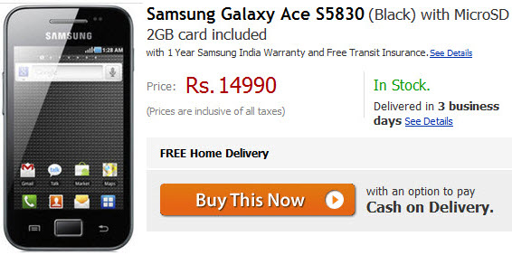 Samsung Galaxy Ace S5830 Available In India For Rs 14,990
