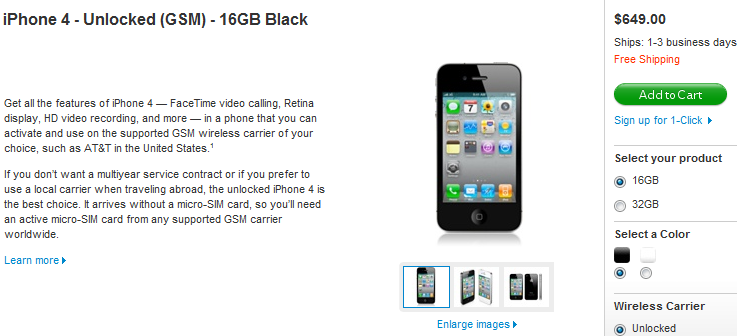 Iphone 4 Unlocked Price In Usa 16gb At 649 32gb At 749