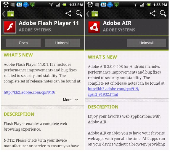 Adobe Flash Player 11 and AIR 3 now available for Android