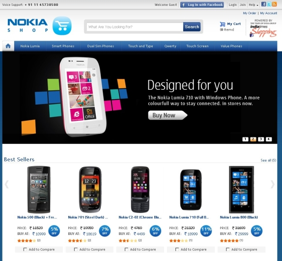 3acc18219 Nokia India ties up with India Times for Nokia Shop – Online Store