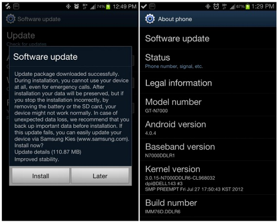Samsung Galaxy Note Android 4 0 4 update now rolling out in