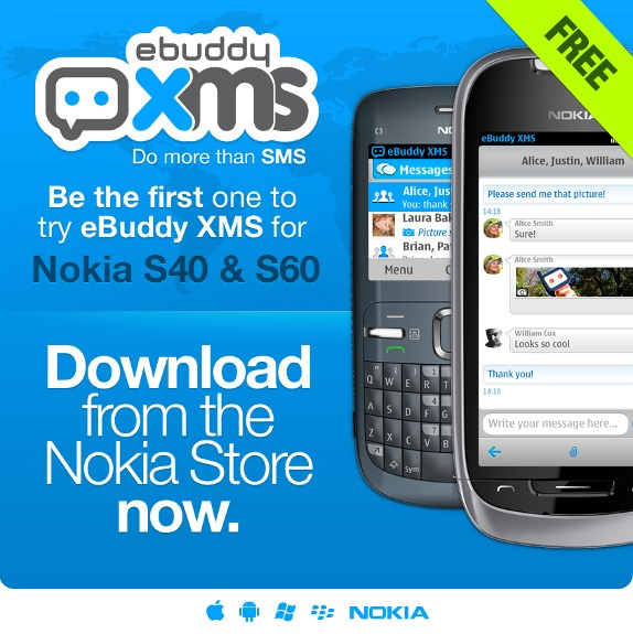 eBuddy XMS messaging app now available for Nokia S40 and S60