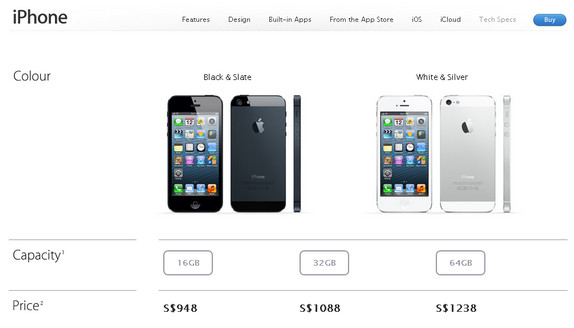 Apple iPhone 5 Singapore Prices are Revealed , starts from S$948
