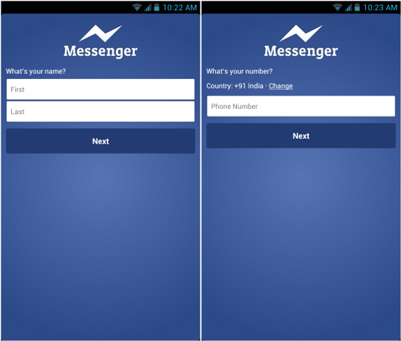 Facebook messenger for android updated lets you sign up using your facebook messenger for android updated lets you sign up using your mobile number stopboris Image collections