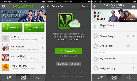 Saavn v2 0 update for iPhone and iPad brings new UI, Saavn Pro