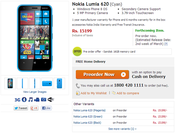 Nokia Lumia 620 Gets A Pre Order Price Of Rs 15199 On Flipkart