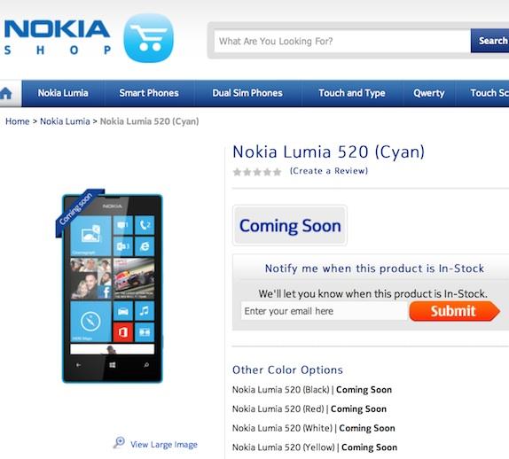 Nokia Lumia 520 coming soon to India