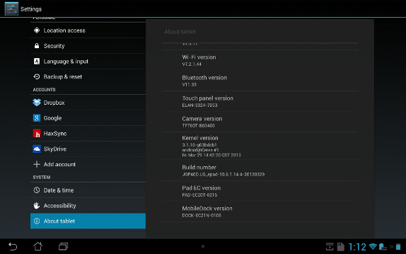 Asus Transformer Pad Infinity Android 4.2
