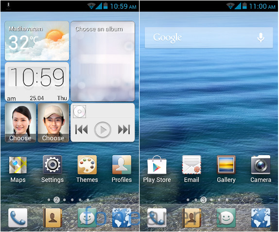 Huawei Y300 Home screen