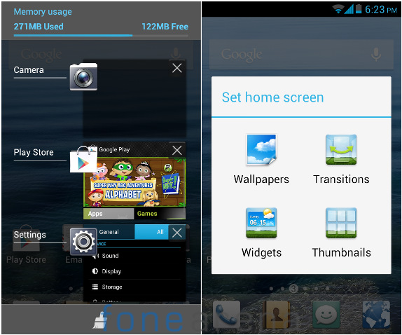 Huawei Y300 Multitasking and Home screen settings