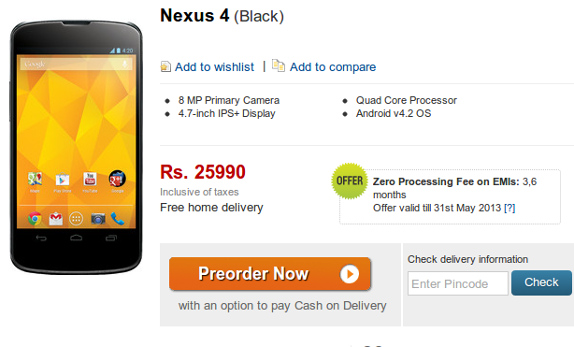 Google Nexus 4 now available for pre-order from Flipkart at
