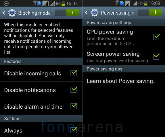 Samsung Galaxy Grand Quattro Blocking Mode and Power Saving