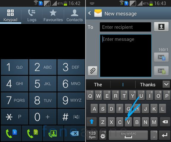Samsung Galaxy Grand Quattro Dialer and Messaging