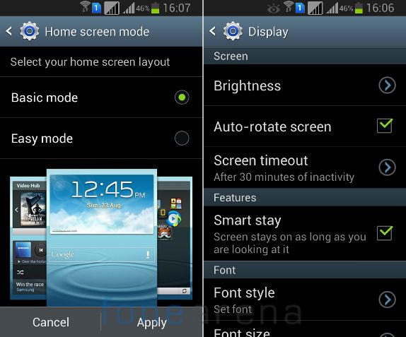 Samsung Galaxy Grand Quattro Home Screen mode & Smart stay