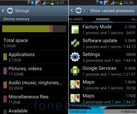 Samsung Galaxy Grand Quattro Internal memory and RAM