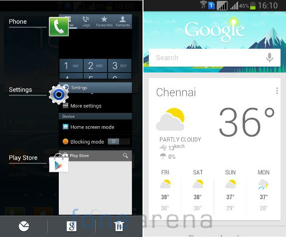 Samsung Galaxy Grand Quattro Multitasking and Google Now