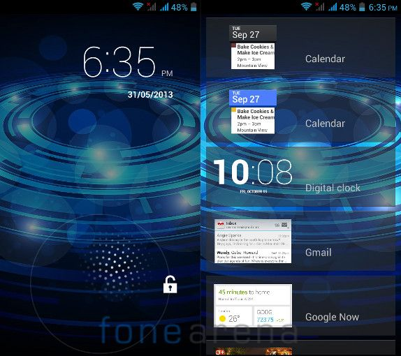 Xolo Q700 Lock Screen and Widgets