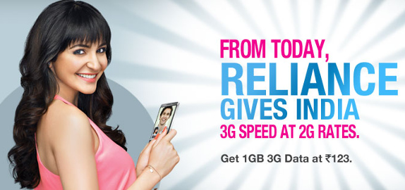 Reliance 3G 1 GB at Rs. 123
