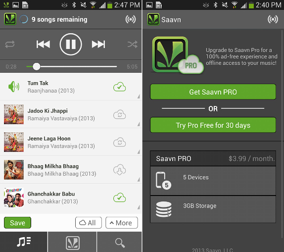 Saavn Pro for Android officially launched, offers ad-free offline