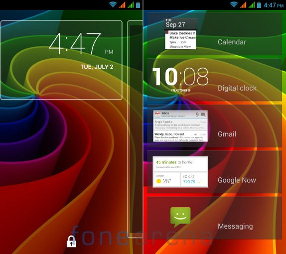 Xolo Q1000 Lockscreen Widgets