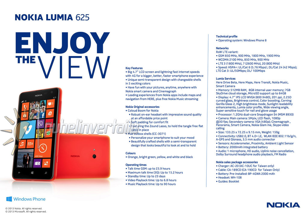 Full specifications of the Nokia Lumia 625 leak ahead of launch