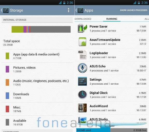 Asus Padfone Infinity Storage and Memory
