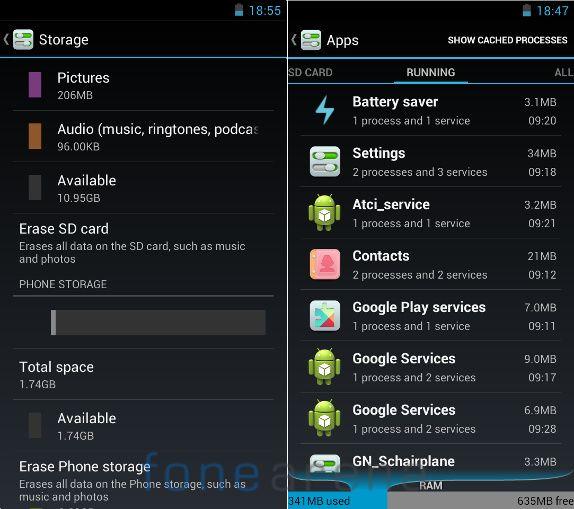 Gionee GPad G2 Memory and RAM