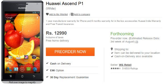Huawei Ascend P1 now available for pre-order in India for Rs