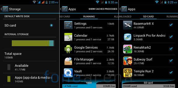 Intex Cloud X3 Storage and Memory